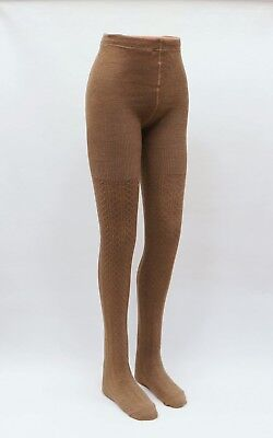 Womens Warm Cable Knit Thick Camel Wool Tights | Winter
