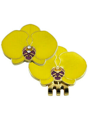 Navika Swarovski Crystal Yellow Orchid Marker with Clip
