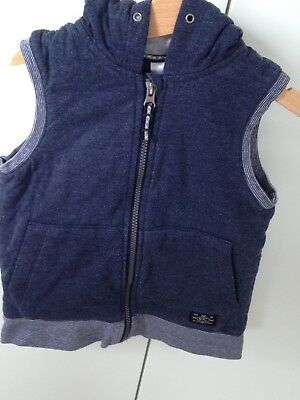Stripped Blue Grey Cross Stitch Quilted Hoody Vest Boys Size 4: EUC
