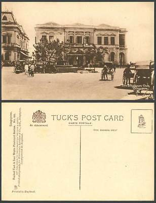Singapore Club Old Tuck's Postcard Street Scene Rickshaw Coolies Fountain Malaya