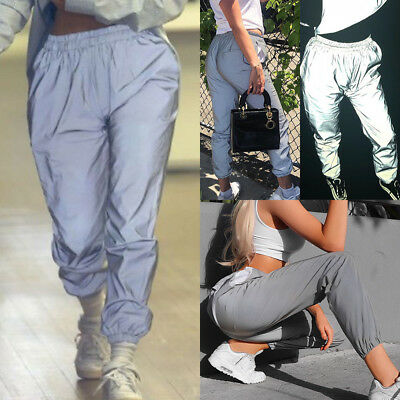 UK Night Reflective Trousers Hip Hop Womens High Waist Pants Joggers Loose Pants