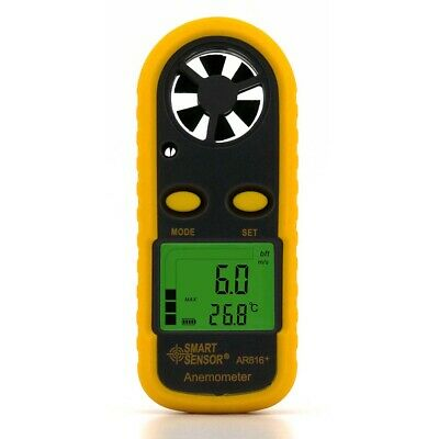 SMART SENSOR Anemometer Windgeschwindigkeit Meter Windmesser Thermometer