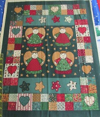 Little Quilts Christmas Wall Hanging ANGEL primitive cotton fabric panel 17x22
