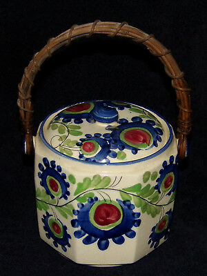 Antique Cobalt Blue Biscuit Cracker Jar Hand Painted Bamboo Handle Made in Japan