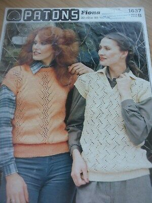 098b947b8c670 VINTAGE 1970s 1979 PATONS KNITTING PATTERN LADIES BOAT   V NECK TOP 32 - 40  in