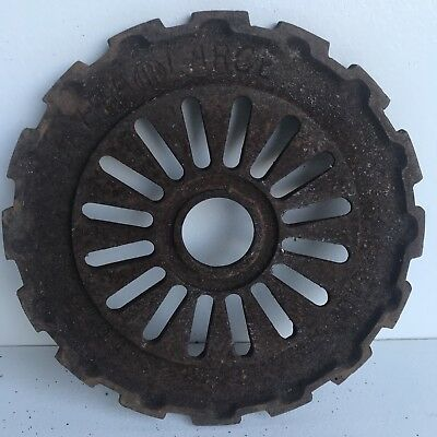 "Vintage Large 7 5/8"" Cast Iron Farm Industrial Steam Punk Sprocket Cog Gear"