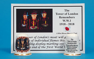 The Tower of London Remembers WW1 1918-2018 China Thimble + Memory Card B/166