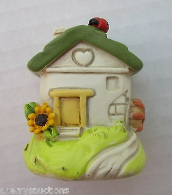 P LADYBUG sunflower COTTAGE HOUSE Figurine miniature fairy Garden Ganz good luck