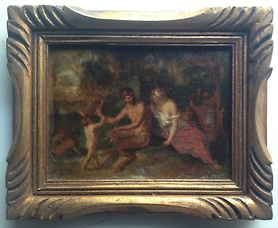 Antique Oil Painting 19th century Satyr and Nymph Putti in the wood