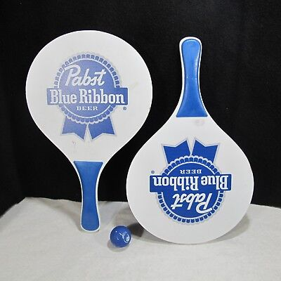 Pabst Blue Ribbon Beer Pair Of Paddles & Original Ball RARE PARTY GAME !
