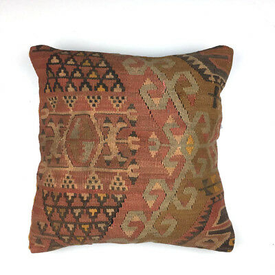 Vintage Kilim Cushion Cover, Kelim Pillow 40x40cm, 16 inches, Moroccan style