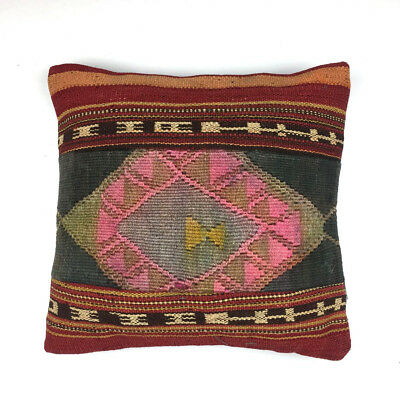 Vintage Wool Turkish Moroccan Colourful Kilim Cushion Covers 40x40cm 16 in