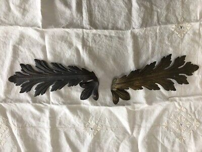 Pair large antique victorian drapery curtain tie backs cast leaf