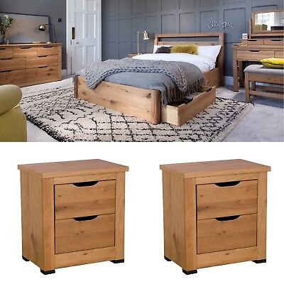 Roma Solid Oak Bed Frame With Storage + 2 Bedsides