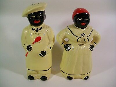 Rare Large Pair of Black Americana Salty & Peppy Salt & Pepper Shaker Set 7.5""