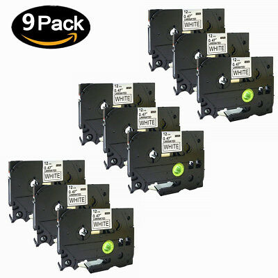 9x Black on White Label Laminated Tape Brother TZ231 TZe231 for P-Touch 12mm 8M