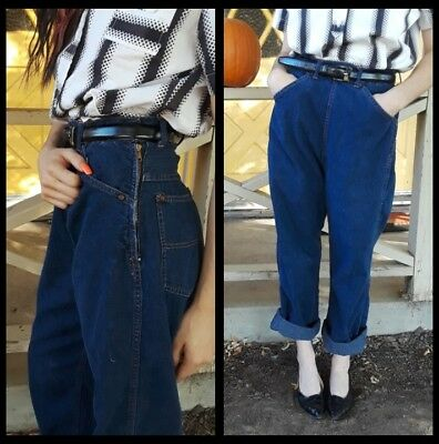 1950s Vintage Side Zip High Waisted Jeans dungarees Rockabilly VLV Pinup 26 27