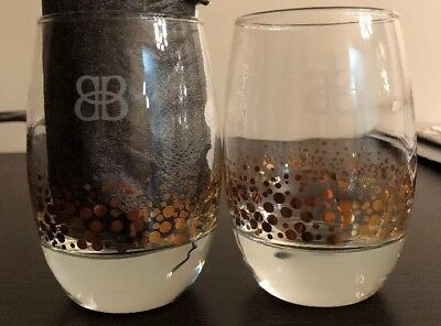 2 Bailey's Irish Cream Glasses 22K Gold Bubbles Confetti Dots Tumblers