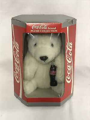 Vintage Coca-Cola Plush Polar Bear With Soda 1993