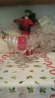 6 Arbys Libbey Snow Scene Water/wine Etched Frosted Vintage Glasses Set Of 6