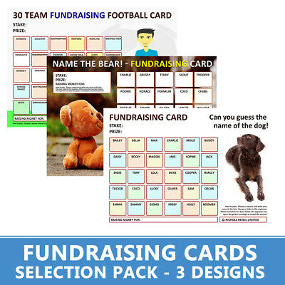 Fundraising Cards   - 6 Charity Cards -   Name The Dog, Name The Bear & Football