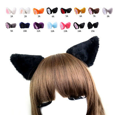 Cute Kitten Fox Long Plush Fur Ears Anime Cosplay Party Hair Clips Hairpins US