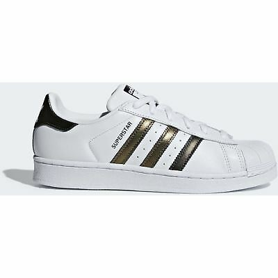 separation shoes 1a34f f88e1 Adidas Originals Donna Bianche Oro SCARPE SUPERSTAR Pelle Stringata Scarpa  Bassa