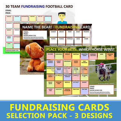 Fundraising Cards | - 6 Charity Cards - | Horse Racing, Name The Bear & Football