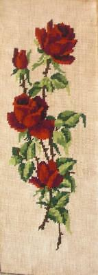 "Vintage Completed  needlepoint flowers Roses on off-white 18.5""x6.7"""