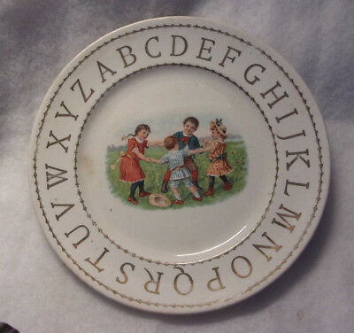 VINTAGE 1920 -30'S  ALPHABET PLATE with CHILDREN DOING RING AROUND THE ROSIE
