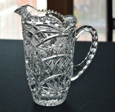 Crystal Pitcher Floral Diamond Sun Ray Pattern Clear Saw Tooth Rim