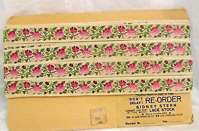 Vintage / Antique Pink Roses On Off White Jacquard Trim - 1930's By The Yard