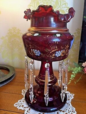 """Huge Antique Victorian Lustre Ruby Glass Enamel Overlay With Drops 16"""" x 8"""""""
