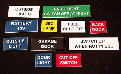 Engraved Bespoke Labels & small signs for boat, workroom, control panels etc