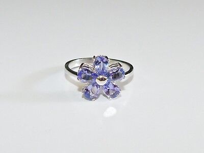 GENUINE! RARE 1.95cts! Tanzanite Pear Cut Ring Solid Sterling Silver 925!!