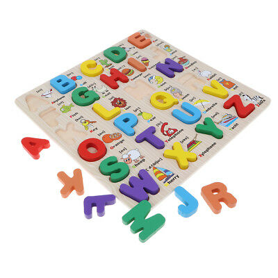 Alphabet ABC Numbers Kids Educational Toys Wooden Jigsaw Child Letter Puzzle