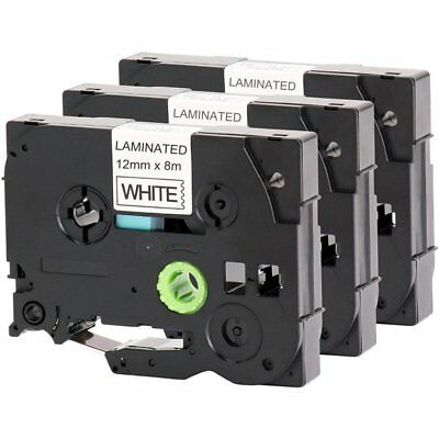 "3x Black on White Label Tape TZ 231 TZe231 12mm 0.47"" Compatible Brother P-Touch"