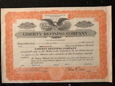 "Vintage Stock Certificate for 4 shares ""Liberty Refining Company"" issued Apr1920"