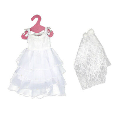 Handmade Wedding Dress Gown for 18inch American Girl Doll Party Dress Accs
