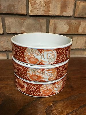 Rare Set 3 Antique Old Oriental Asian Porcelain Bowls Akaki Kinga Kulani?? 1849?