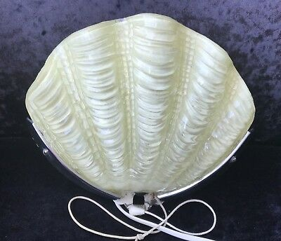 Original Art Deco Clam Shell Odeon Wall Light - Yellow
