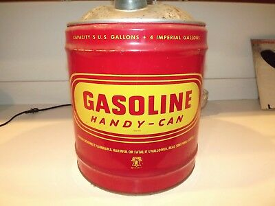 Vintage Liberty Gasoline handy-can 5 GALLON Metal Gas can Red & Yellow