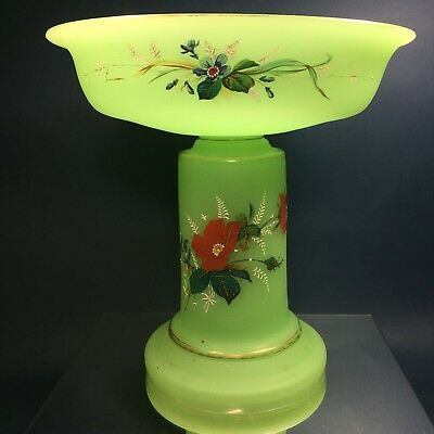 RARE Antique French Green Opaline Glass Uranium Art Nouveau Hand Painted Compote