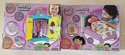 TOYS: Dora the Explorer DRESS-UP ARMOIRE & BED Adventure Collection Lot of 2 NEW