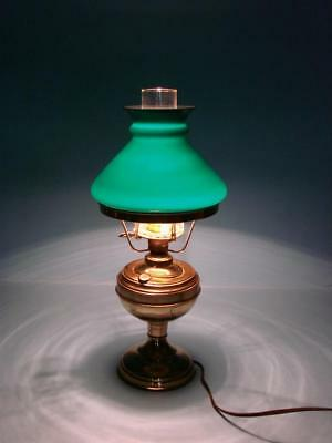 29ec22197822 Antique Brass Oil Lamp w  Green Milk Glass Shade Converted to Electric