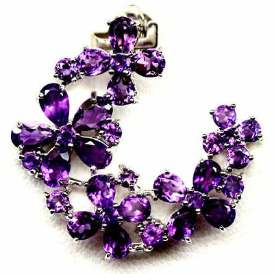 Pretty Natural Purple Amethyst 925 Sterling Silver Pendant