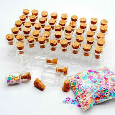 12~36x 1ML Clear Small Glass Bottles Cork Stopper Mini Vial Containers Empty