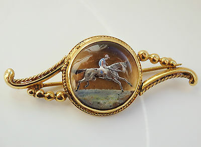 Antique Victorian 15ct Gold Horse Racing Essex Crystal Intaglio Brooch c1890