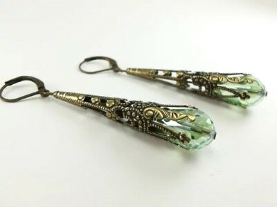 Vintage Women 925 Silver Green Crystar Wedding Jewelry Drop Dangle Hoop Earrings