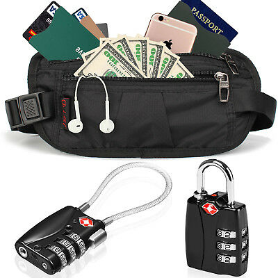 TSA Approved Alloy Body Luggage Locks with RFID Money Belt Bag For Travel